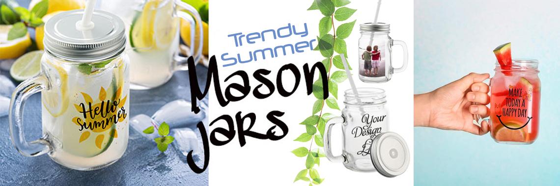 """""""Mason Jar"""" fotopurk kõrrega Teie teksti või logoga"""